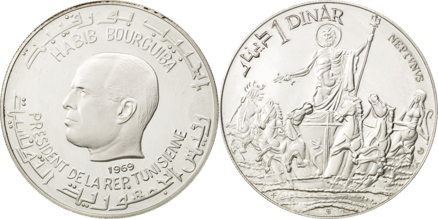 World Coins - TUNISIA, Dinar, 1969, Franklin Mint, KM #298, , Silver, 40, 21.20
