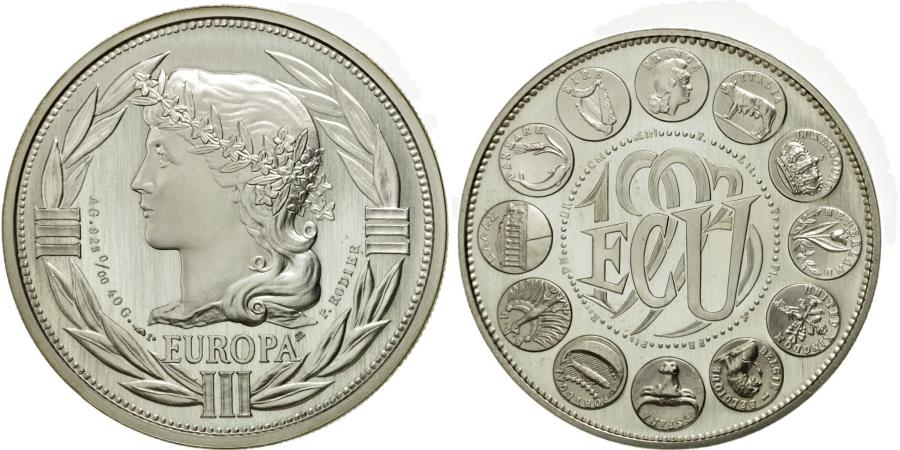World Coins - France, Medal, Ecu Europa, Marianne, 1993, Rodier, , Silver