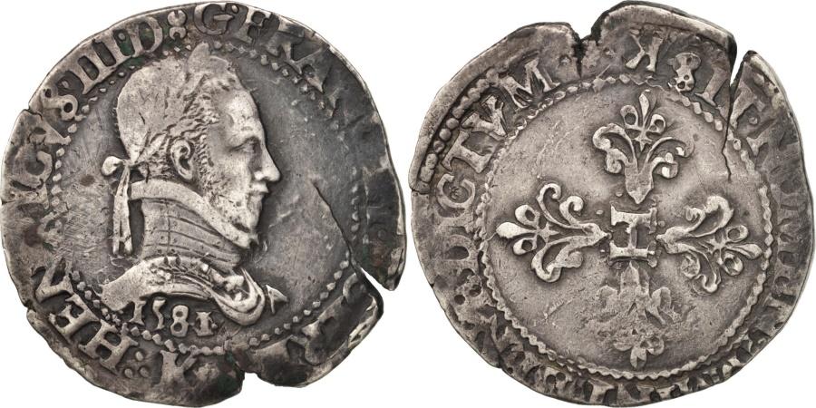 World Coins - Henri III, Franc au Col Plat, 1581, Bordeaux, , Silver, Sombart:4714