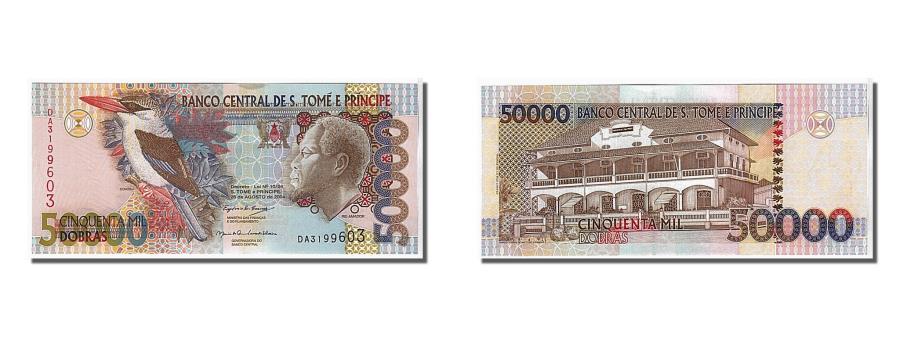 World Coins - Saint Thomas and Prince, 50,000 Dobras, 2004, KM #68b, UNC(65-70), DA3199603
