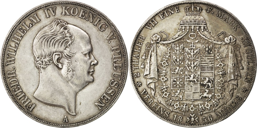 World Coins - GERMAN STATES, 2 Thaler, 3-1/2 Gulden, 1856, Berlin, KM #467, ,...