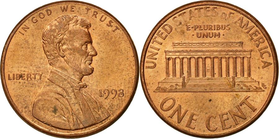 US Coins - Coin, United States, Lincoln Cent, Cent, 1998, U.S. Mint, Philadelphia