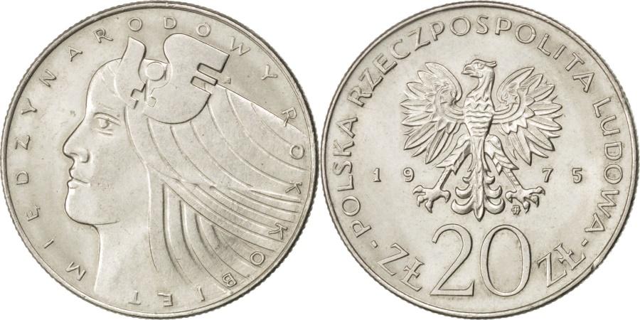 World Coins - POLAND, 20 Zlotych, 1975, Warsaw, KM #75, , Copper-Nickel, 29, 10.16