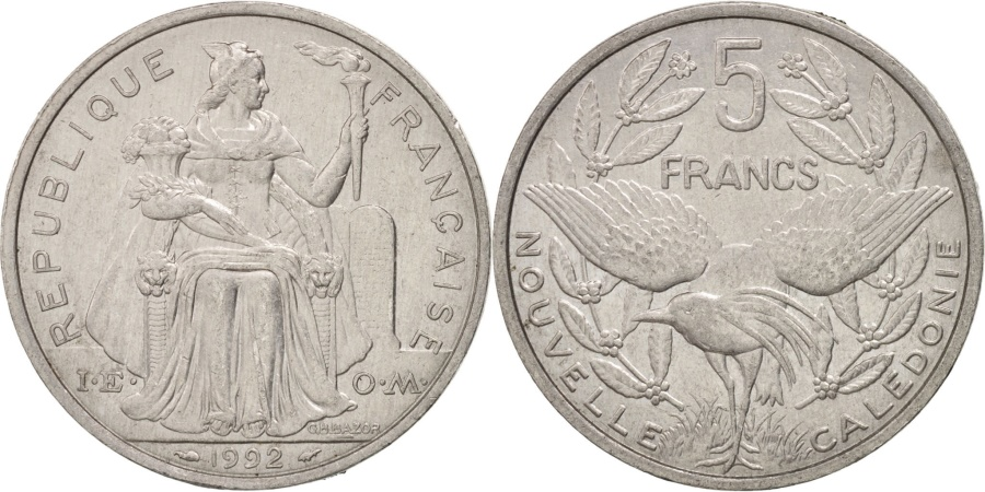 World Coins - New Caledonia, 5 Francs, 1992, Paris, , Aluminum, KM:16