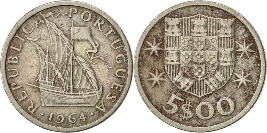 World Coins - Portugal, 5 Escudos, 1964, , Copper-nickel, KM:591
