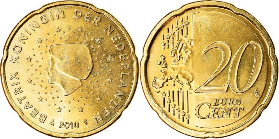 World Coins - Netherlands, 20 Euro Cent, 2010, , Brass, KM:269