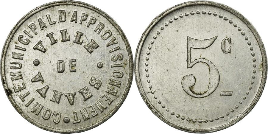 World Coins - Coin, France, Comité Municipal d'Approvisionnement, Vanves, 5 Centimes