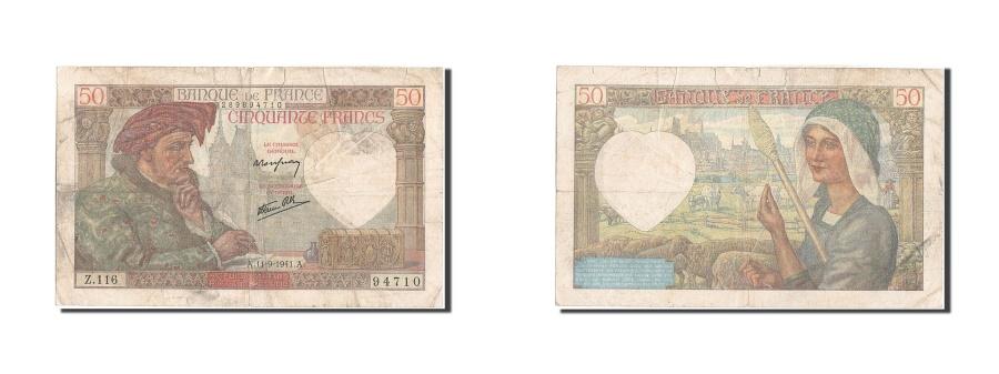 World Coins - France, 50 Francs, 50 F 1940-1942 ''Jacques Coeur'', 1941, KM #93, 1941-09-11,..