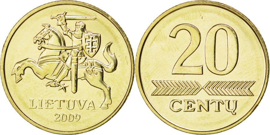 World Coins - LITHUANIA, 20 Centu, 2009, KM #107, , Nickel-Brass, 20.5, 4.82