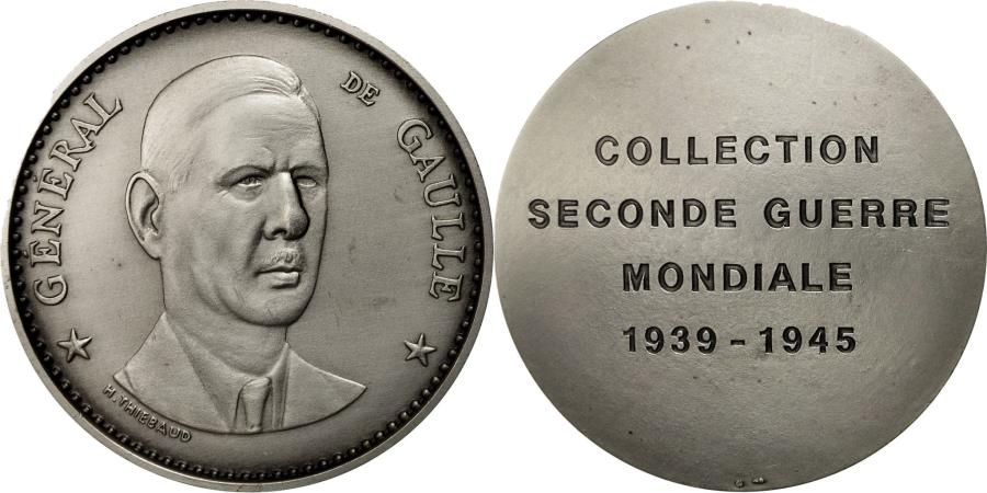 World Coins - France, Medal, Seconde Guerre Mondiale, Général de Gaulle, Thiébaud