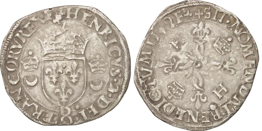 World Coins - France, Douzain aux croissants, 1549, Lyons, , Billon, Duplessy:997