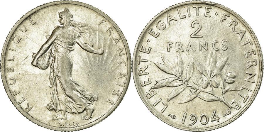 World Coins - Coin, France, Semeuse, 2 Francs, 1904, Paris, AU(50-53), Silver, Gadoury:532