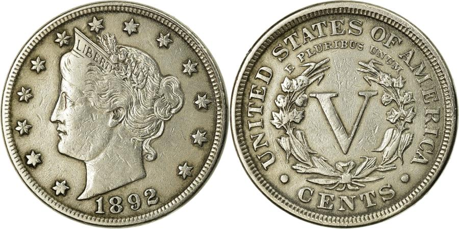 US Coins - Coin, United States, Liberty Nickel, 5 Cents, 1892, U.S. Mint, Philadelphia
