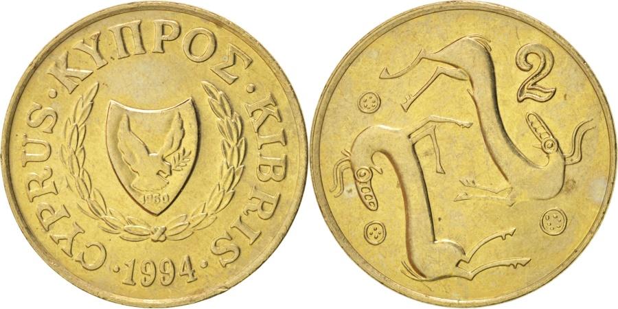 World Coins - Cyprus, 2 Cents, 1994, , Nickel-brass, KM:54.3