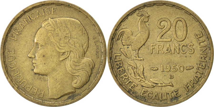 World Coins - FRANCE, Guiraud, 20 Francs, 1950, Beaumont - Le Roger, KM #917.2, ,...