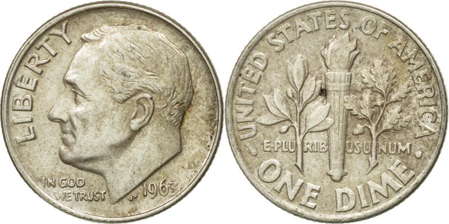 US Coins - Coin, United States, Roosevelt Dime, Dime, 1963, U.S. Mint, Philadelphia