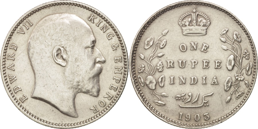 World Coins - INDIA-BRITISH, Edward VII, Rupee, 1903, Calcutta, , Silver, KM:508