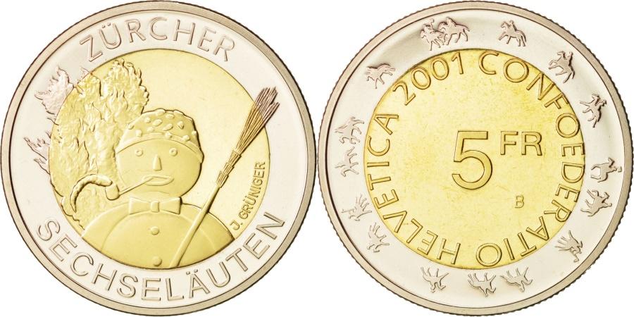 World Coins - Switzerland, 5 Francs, 2001, Bern, , Bi-Metallic, KM:92