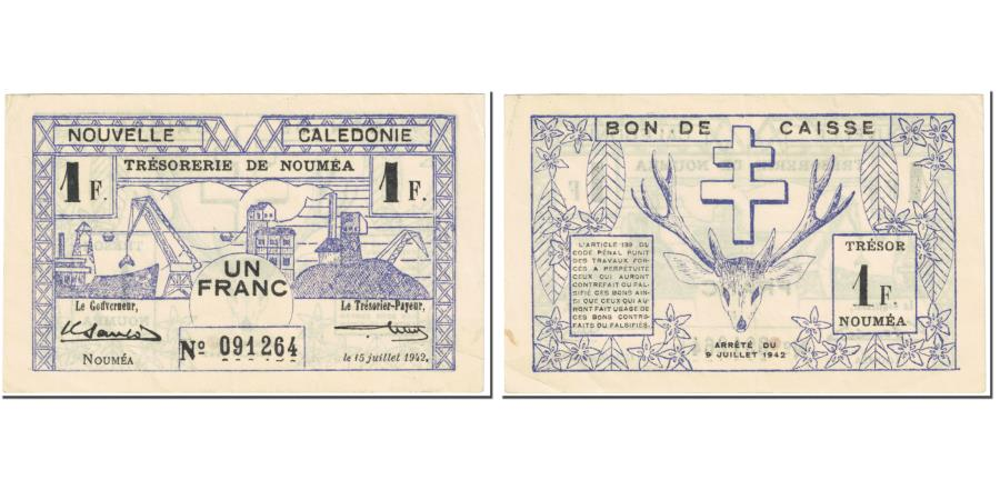 World Coins - Banknote, New Caledonia, 1 Franc, 1942, 1942-07-15, KM:52, EF(40-45)