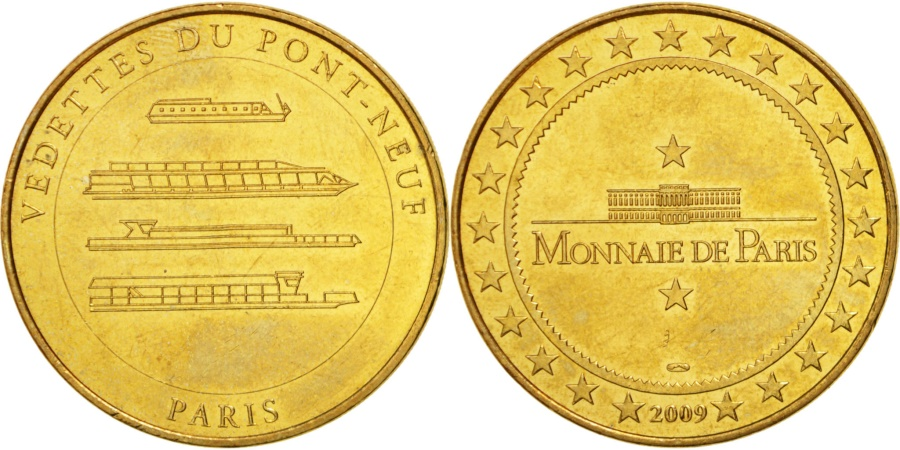 World Coins - France, Touristic token, 75/ Paris - Vedettes du Pont-Neuf, 2009, MDP
