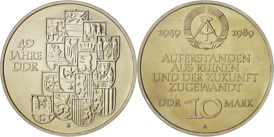 World Coins - GERMAN-DEMOCRATIC REPUBLIC, 10 Mark, 1989, Berlin, Copper-Nickel-Zinc, KM:132