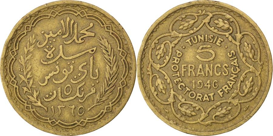 World Coins - TUNISIA, 5 Francs, 1946, Paris, KM #273, , Aluminum-Bronze, 12.02