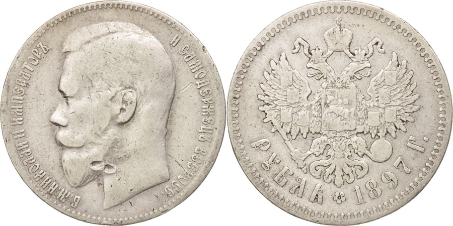 World Coins - Russia, Nicholas II, Rouble, 1897, St. Petersburg, , Silver, KM:59.3