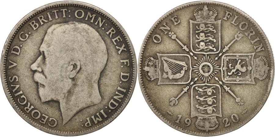 World Coins - GREAT BRITAIN, Florin, Two Shillings, 1920, KM #817a, , Silver, 28.3,..