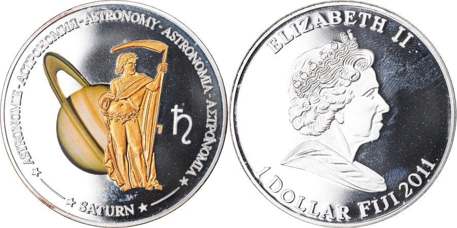 World Coins - Coin, Fiji, Elizabeth II, Astronomie - Saturne, Dollar, 2011,