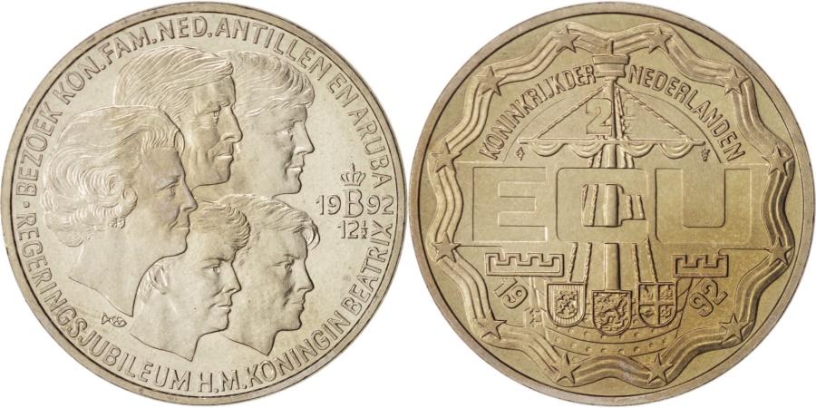 World Coins - Netherlands, Beatrix, 2-1/2 ECU, 1992, Utrecht, Copper-nickel, KM:59