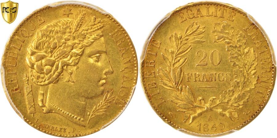 World Coins - France, Cérès, 20 Francs, 1849, Paris, PCGS, AU58, Gold, KM:762