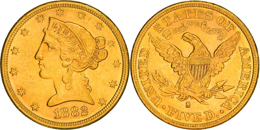 US Coins - Coin, United States, Coronet Head, $5, Half Eagle, 1882, U.S. Mint, San