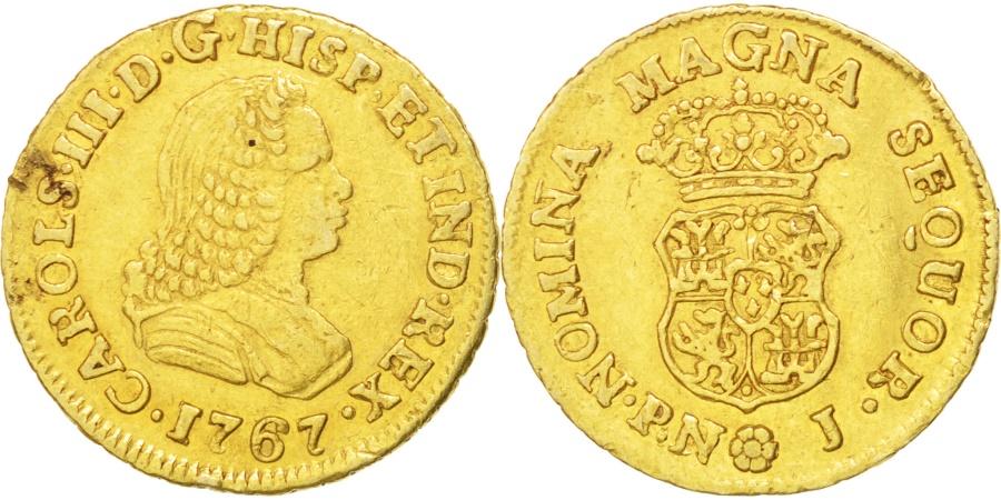 World Coins - COLOMBIA, Escudo, 1767, Popayan, KM #35, , Gold, 3.37