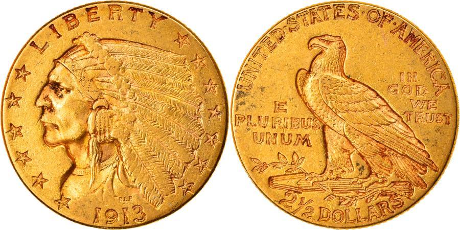 US Coins - Coin, United States, Indian Head, $2.50, Quarter Eagle, 1913,Philadelphia,KM128