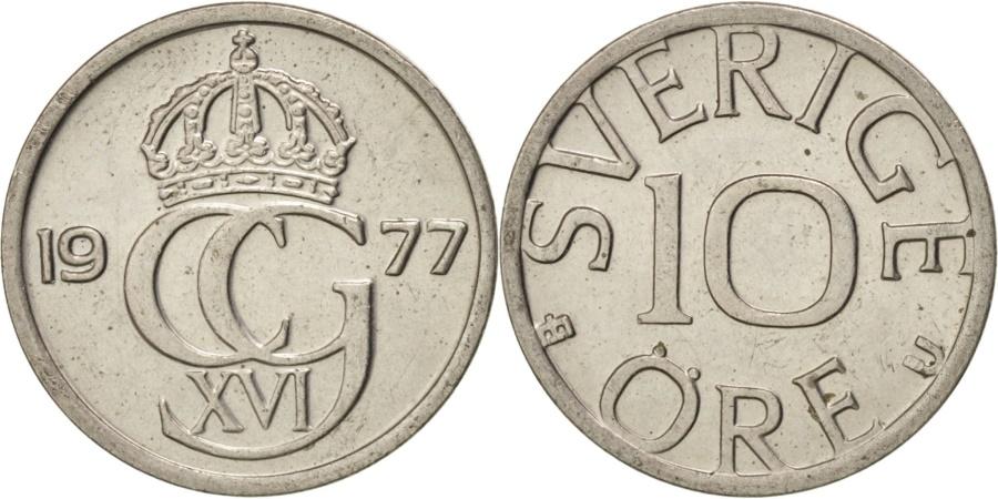 World Coins - SWEDEN, 10 Ore, 1977, KM #850, , Copper-Nickel, 14.54