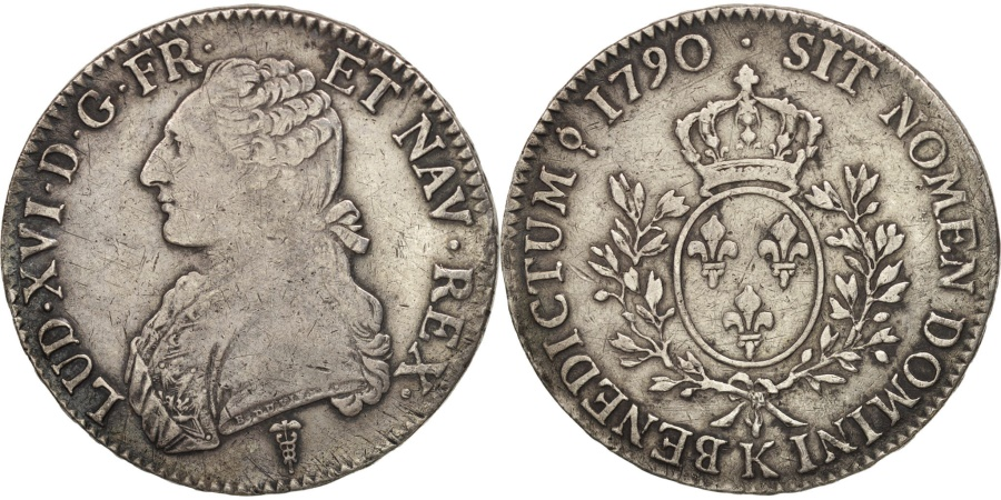World Coins - France, Louis XVI, Écu aux branches d'olivier, Ecu, 1790, Bordeaux,