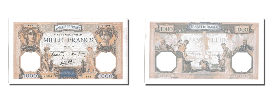 World Coins - France, 500 Francs, 1 000 F 1927-1940 ''Cérès et Mercure'', 1938, KM #88c, 1...
