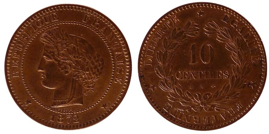 World Coins - FRANCE, Cérès, 10 Centimes, 1872, Paris, KM #815.1, , Bronze, Gadoury #