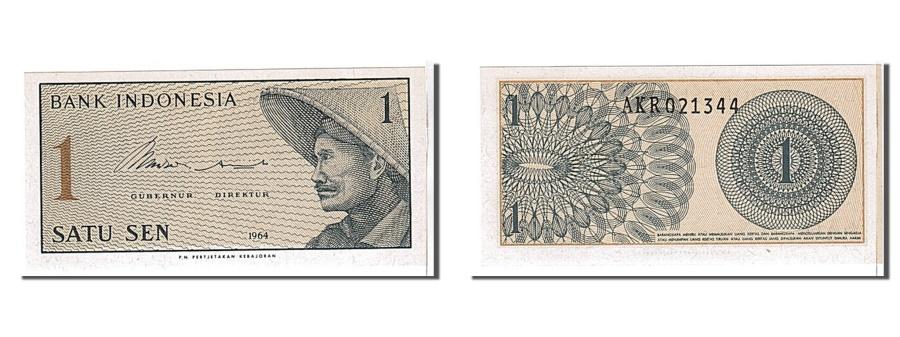 World Coins - Indonesia, 1 Sen, 1964, KM #90a, UNC(65-70), AKR021344