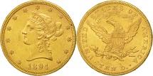 Us Coins - United States, Coronet Head, $10, 1894, Philadelphia, Au(50-58), Gold, KM:102
