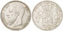 Belgium, Leopold II, 5 Francs, 5 Frank, 1875, EF(40-45), Silver, KM:24