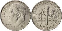 United States, Roosevelt Dime, 2012, U.S. Mint, Denver, MS(63), KM 195a