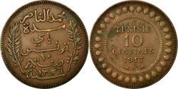 World Coins - Coin, Tunisia, Muhammad al-Nasir Bey, 10 Centimes, 1917, Paris, EF(40-45)