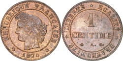 World Coins - FRANCE, Cérès, 1 Centime, 1874, Paris, KM #826.1, , Bronze, Gadoury #88