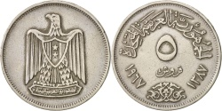 World Coins - Egypt, 5 Piastres, 1967, , Copper-nickel, KM:412