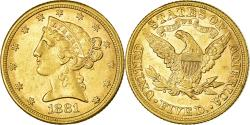 Us Coins - Coin, United States, $5, Half Eagle, 1881, Philadelphia, , Gold, KM:101