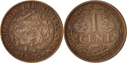 World Coins - Netherlands, Wilhelmina I, Cent, 1940, , Bronze, KM:152