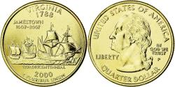 Us Coins - Coin, United States, Virginia, Quarter, 2000, U.S. Mint, , Gold plated