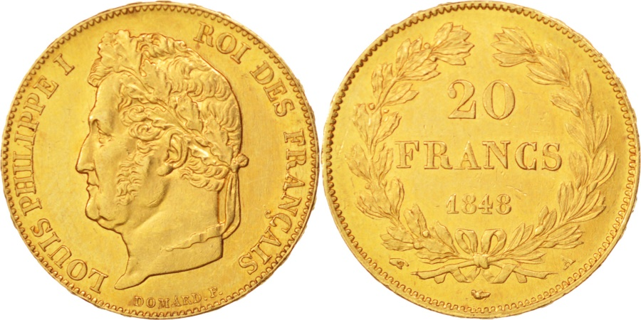 World Coins - France, Louis-Philippe, 20 Francs,1848,Paris,,Gold,KM:750.1,Gadoury1031