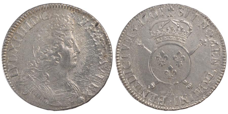 World Coins - FRANCE, Écu aux insignes, ECU, 1701, Paris, KM #329.1, , Silver, ...